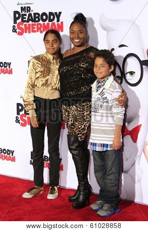 LOS ANGELES - MAR 5: Shar Jackson, children Kaleb and Kori at the premiere of 'Mr. Peabody & Sherman' at Regency Village Theater on March 5, 2014 in Los Angeles, California