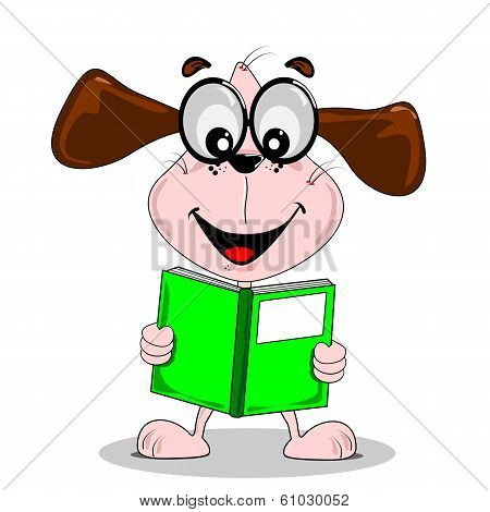 Cartoon dog with reading a book
