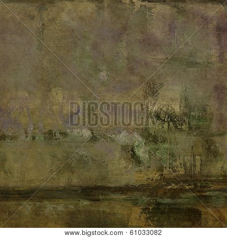art abstract acrylic background in green, brown, beige and violet colors