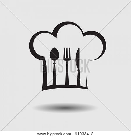 chef hat with spoon, knife and fork