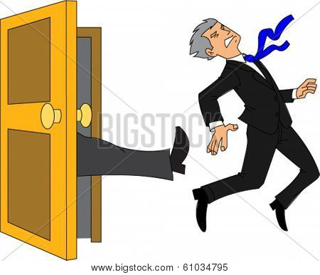 Businessman being kicked out of the door