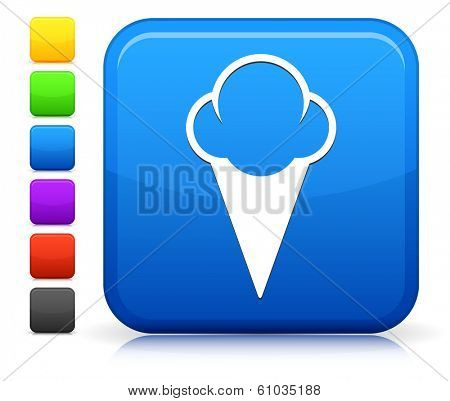 Icecream Icon on Square Internet Button Collection