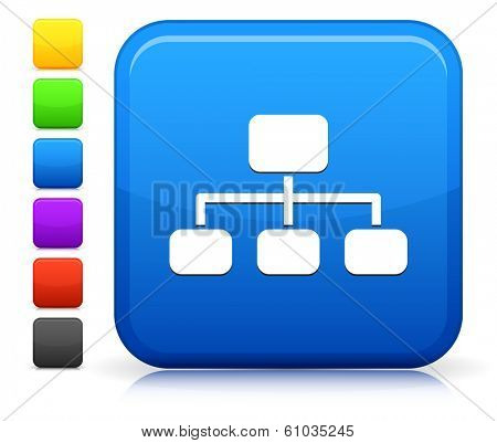 Diagram Icon on Square Internet Button Collection