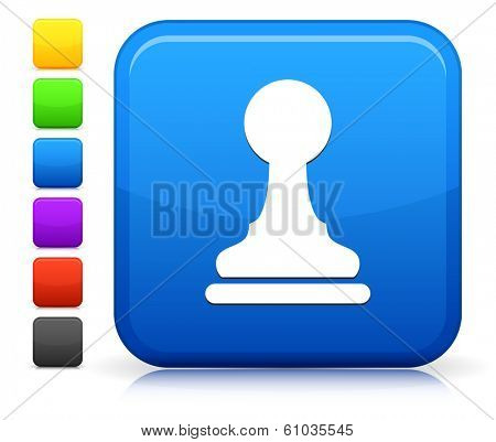 Pawn Icon on Square Internet Button Collection