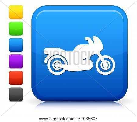 Motocycle Icon on Square Internet Button Collection