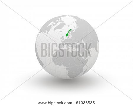 Globe. 3d. Norway. Elements of this image furnished by NASA
