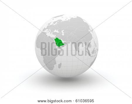 Globe. 3d. Saudi Arabia. Elements of this image furnished by NASA