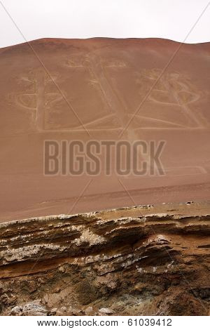 Candelabrum (El Candelabrio), ancient drow on the sand of the Ballestas Islands in Peru