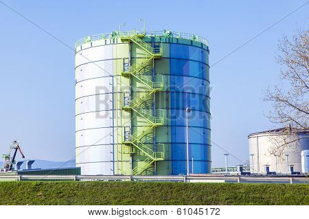 FRANKFURT, GERMANY - JUNE 3, 2012: silo in Industry Park in beautiful landscape near Frankfurt