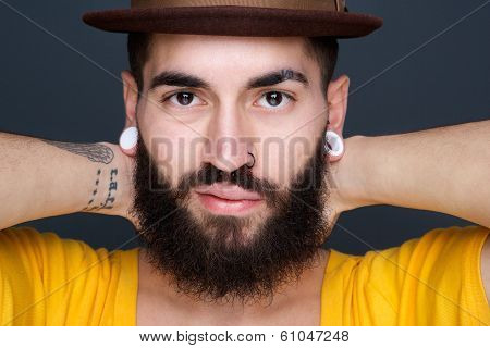 Man With Beard And Piercings