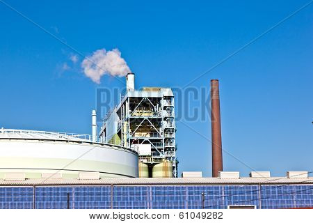 FRANKFURT, GERMANY - JUNE 3, 2012: Industry park with silo and chimney