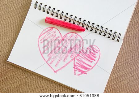 Heart painting on white paper