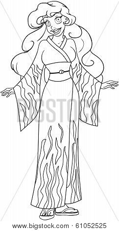 African Woman In Kimono Coloring Page