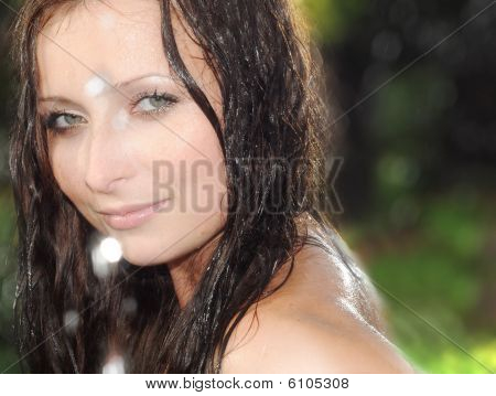 Woman Face With Water Drop