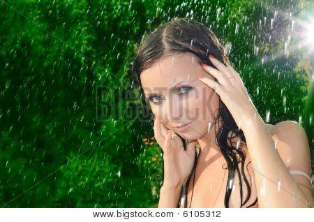 Woman Under A Summer Rain