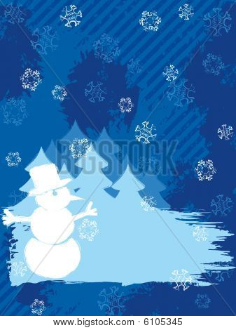Vertical grungy winter background in dark colors