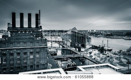 View Of The Power Plant And The Inner Harbor From A Parking Garage In Baltimore, Maryland.