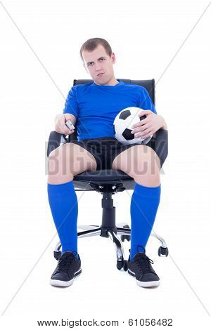 Bored Man In Uniform With Remote Control Watching Soccer Game Isolated On White
