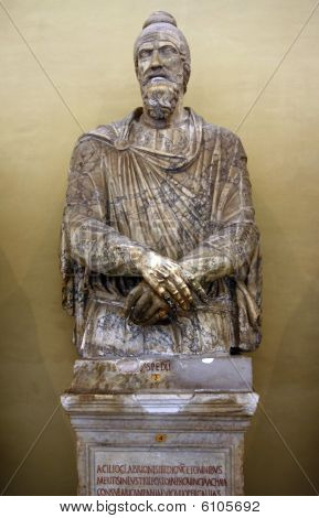 A statue inside the Musei Vaticani in Rome