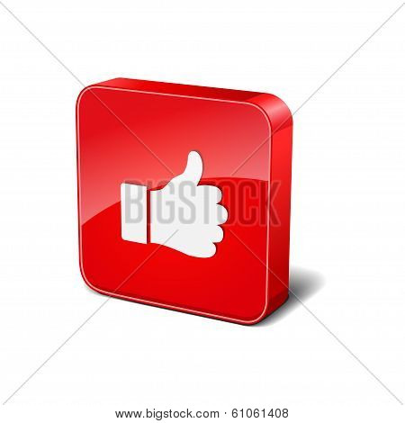 Thumbs Up 3d Rounded Corner Red Vector Icon Button