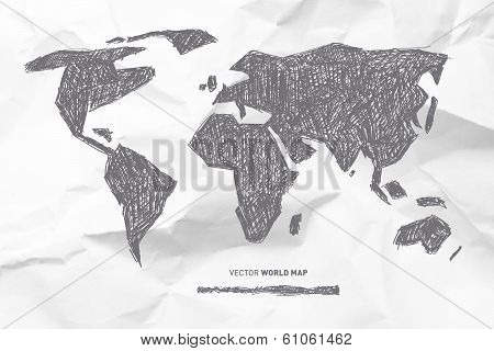 Vector Hand Drawn World Map on Crumpled Paper Background