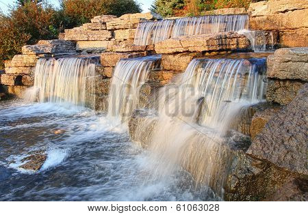 Beautiful waterfall in the park.