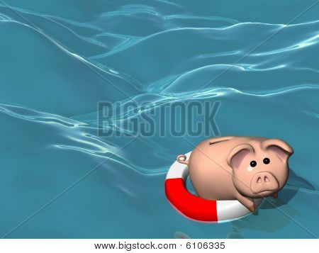 Piggy Bank On A Lifesaver