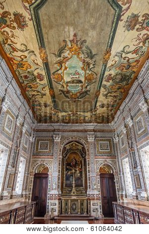 Lisbon, Portugal - September 15, 2013: 18th century painted ceiling of the baroque Sacristy. Sao Vicente de Fora Monastery. Very important monument of Lisbon, Portugal.