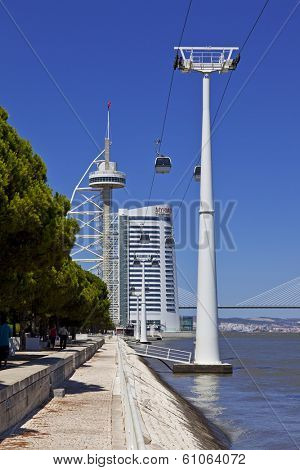 Lisbon, Portugal - August 02, 2013: Vasco da Gama Tower, the Myriad Hotel, the aerial tramway in the Park of Nations.