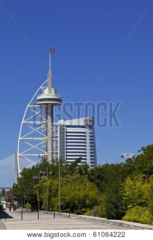 Lisbon, Portugal - August 02, 2013: Vasco da Gama Tower, the new Myriad Hotel in the Park of Nations (Parque das Nacoes).