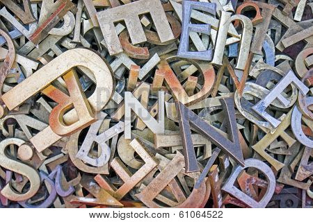 Pile of different iron letters
