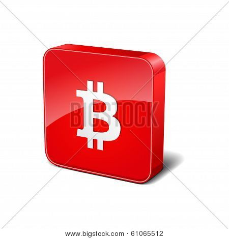 Bit Coin 3d Rounded Corner Red Vector Icon Button
