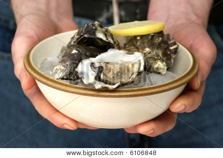 Raw Organic Oyster In A Bowl With Ice And Lemon