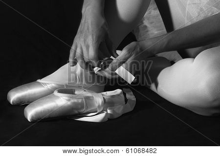 Ballerina Sit Down On Floor To Put On Slippers Prepare To Perform Artistic Conversion