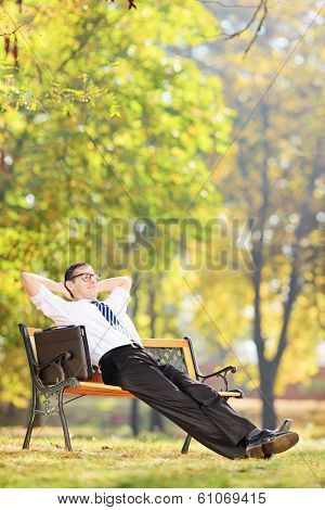 Relaxed businessman sitting on a wooden bench in park