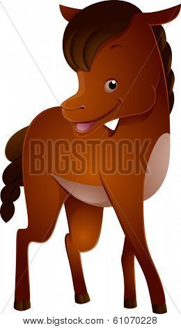 Illustration Featuring a Cute Horse with a Thick Shiny Coat