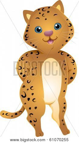 Illustration of a Cute Jaguar with its Paws Behind its Back