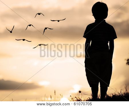 Alone kid standing on field looking far away on birds flock
