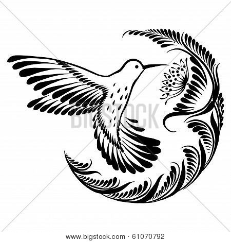 Decorative Silhouette Hummingbird In Flight