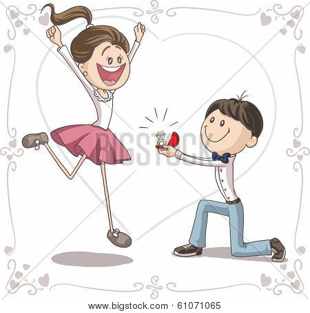 Marriage Proposal Vector Cartoon