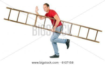 Man Carrying Ladder