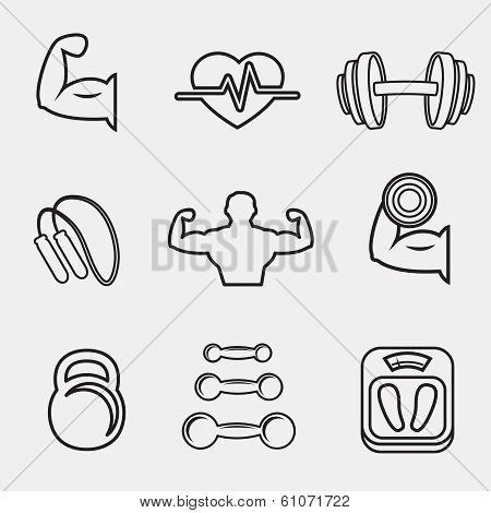 Fitness bodybuilding sport icons set