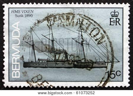 Postage Stamp Bermuda 1986 Hms Vixen, Shipwreck