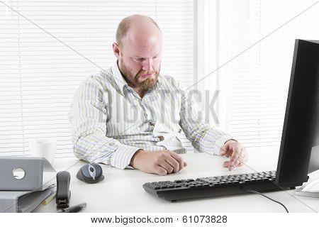 Sad man at the Office
