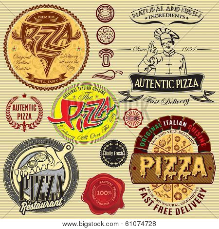 Set Of Icons On Theme A Pizza Delivery Restaurant