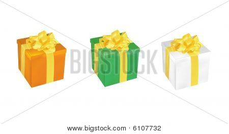 set of three colorful vector gift boxes different color
