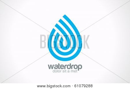 Water drop abstract vector logo design. Line art creative concept. Waterdrop blue clean aqua