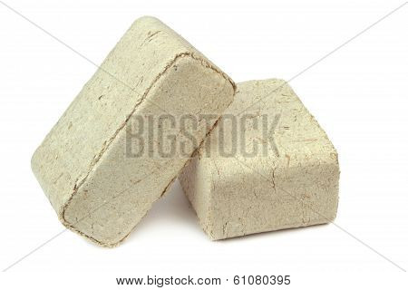 Pressed sawdust, wood briquettes