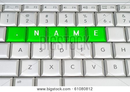 Internet Top Level Domain .name Spelled On Metallic Keyboard