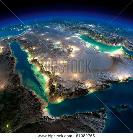 Night Earth. Saudi Arabia
